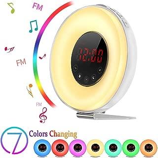 Sunrise Alarm Clock, Boscheng Wake Up Light Sunrise Simulator Daylight Alarm Clock for Heavy Sleepers, with 6 Nature Sounds, FM Radio, Brightness Adjustable, Touch Control and Snooze Function