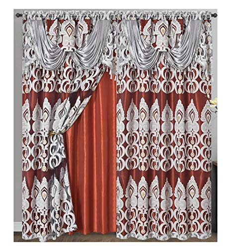 Peacock Pride. Clipped Voile. Voile Jacquard Window Curtain Panel Drape with Attached Fancy Valance and Taffeta Backing. 2pcs Set. Each pc 54 inch Wide x 84 inch Drop + 18 inch Valance. (Rust)