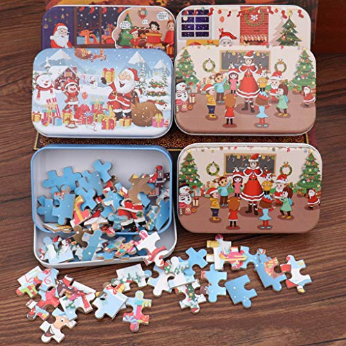 Christmas DIY Jigsaw Puzzle 60 Pieces Children's Handmade Santa Claus Puzzle Wooden Toy for Kods