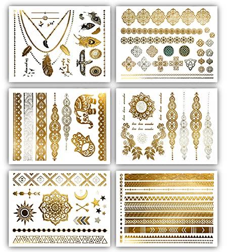 Terra Tattoos Gold Metallic Henna Temporary Tattoos – 75+ Designs Elephants, Flowers, Stars &...