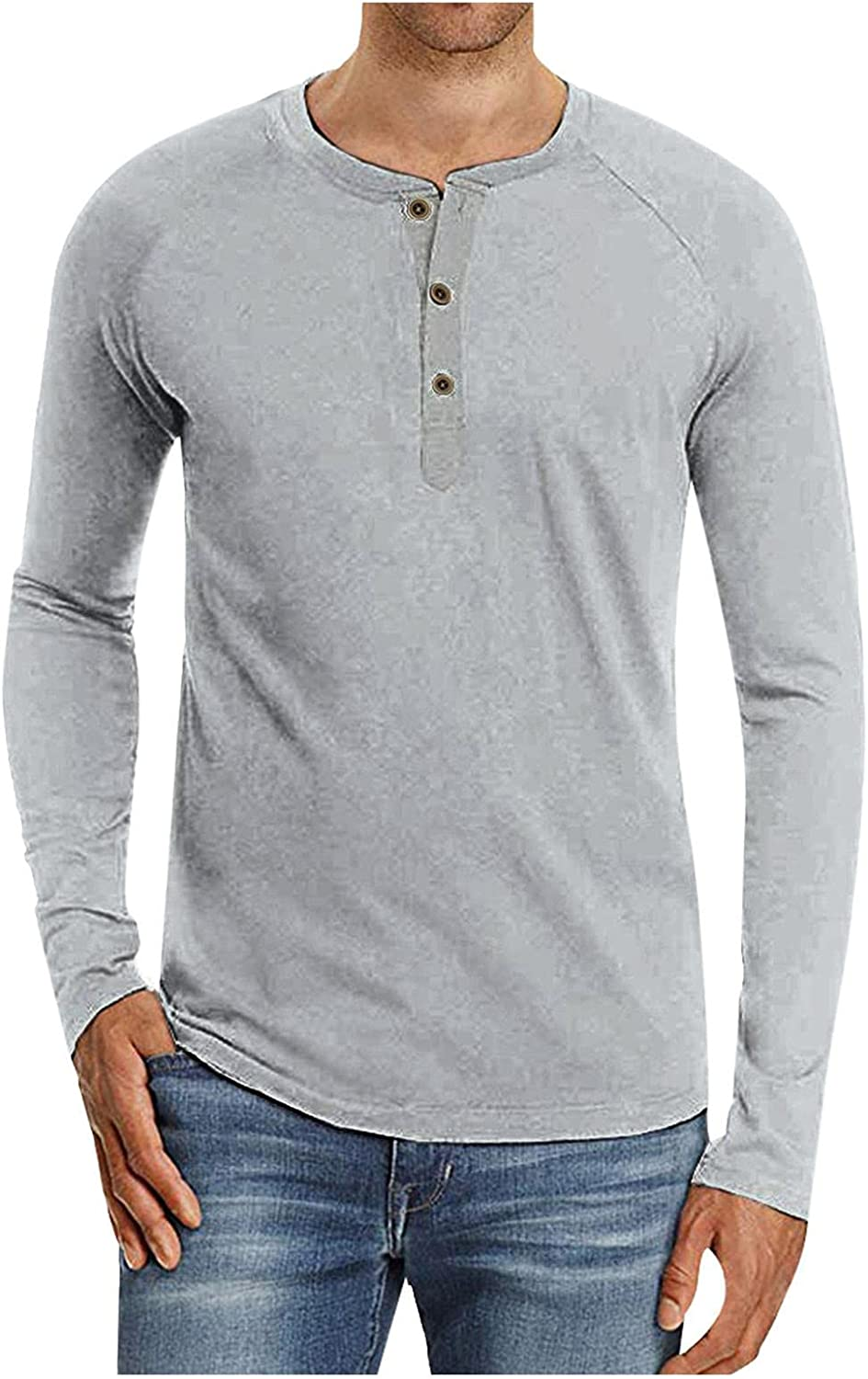 Mens Henley Shirts Solid Long Sleeve Button Down Tops Casual Loose Fit Pullover Blouse Classic Outdoor