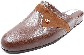 TRIGONO - Scarpa da casa classica, in pelle, colore: marrone