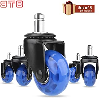 8T8 Replacement Office Chair Caster Wheels (Set of 5)-2 inches Plug in stem 11X22 (7/16''X7/8'') Heavy Duty Universal Size Safe for Hardwood Carpet Tile Floors 5 Set (Blue, 2 inches)