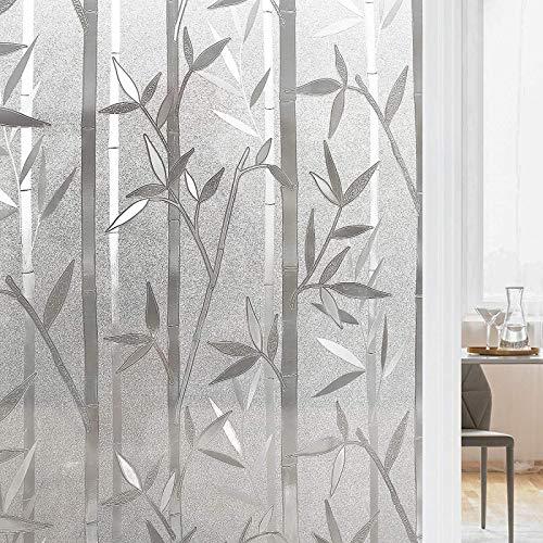 rabbitgoo 3D Statisch Haftende Fensterfolie Bambus Dekofolie Sichtschutzfolie Fensterschutzfolie Selbsthaftend Anti-UV 90.5 x 200cm