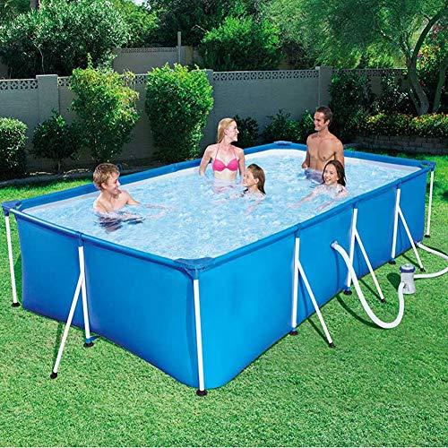 MJLXY Schwimmbecken Sommer Metallrahmen Stahlrohr Spiel-Pool Set Pfeifenständer Pond Große Bracket Above Ground Filter mit Filterpumpe