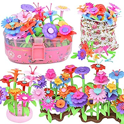 Flower Garden Building Toys for Girls 3 4 5 6 Year Old, 146Pcs Educational Preschool Activities Toy Gardening Birthday Gifts,Indoor Outdoor Stacking Game Pretend Playset for Toddler Kids and Children by Yiwu Dimasi Import & Export Co., Ltd