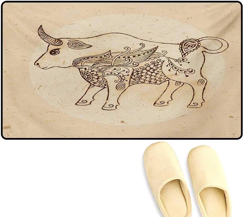 Door-mat,Hand Drawn Bull Ethnic Ornaments Vintage Antique Tribal Design,Door Mats Inside Bathroom Mat Non Slip,Brown Sand Brown,32 x48