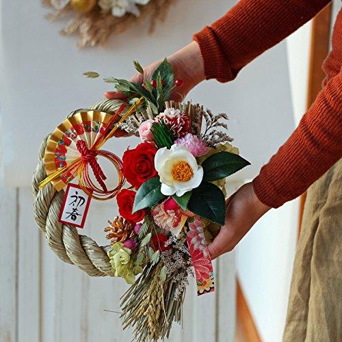 Azurosa(アズローザ)プリザーブドフラワーギフトリース枯れない花お正月飾りしめ縄大輪ローズ椿稲穂付き特大