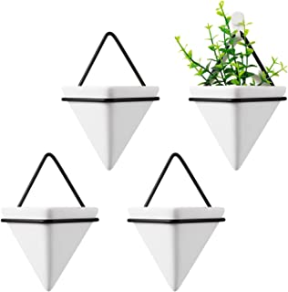 T4U Triangle Wall Planter, Set of 4 Trigg Hanging Planter Vase & Geometric Planter Wall Decor Air Plant Container for Home and Office Decoration Birthday Wedding Gift (Small, White)