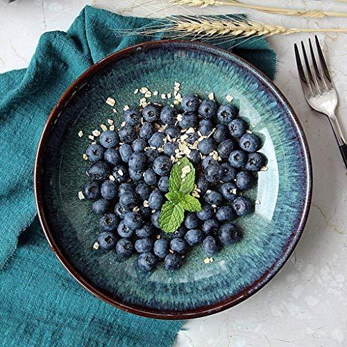Cuenco Vintage tinta verde cuenco de cerámica Ramen cuenco creativo plato hondo 8 pulgadas plato de fruta plato de ensalada