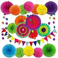 Zerodeco Party dekoration papper pompoms, hängande fack, triangulär vimpel och hängande glitter punkt girlang för fest...
