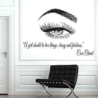 Jiesa Decals Stickers Wall Words Sayings Removable Lettering Vinyl Window Eye Eyelashes Lashes Extensions Eyebrows Brows Beauty Salon Quote Make Up