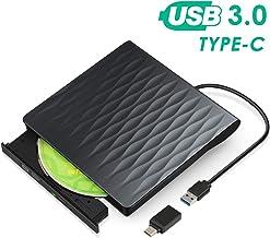 Lecteur CD/DVD Externe, Kingbox USB 3.0 Type C Graveur CD Externe DVD Portable Léger et..