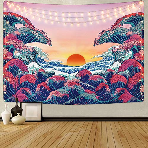 HZAMING Ocean Wave Tapestry Sunset Tapestry 3D Great Wave Tapestry Japanese Tapestry for Room (Ocean Wave, 51.2' x 59.1')