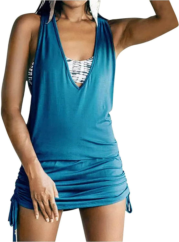 FRSH MNT Tank Dress for Womens Summer Backless Graphic Athletic Sundress Tank Vest Sleeveless V Neck Mini Dress