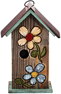 Topadorn Bird House Wooden Carved Floral Birdhouse with Hanging