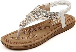 55d17bc6b1a3e3 Minetom Femme Fille Strass Chaussures de Plage de Bohême Flip Flops  T-Sangle Tongs Mode