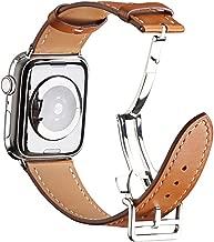 سوار ساعة يد جلد بابزيم على شكل فراشة لساعة الاي وساعة ابل 44 ملم