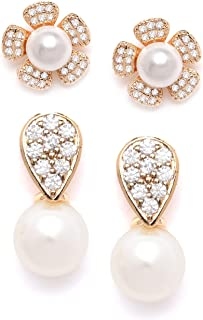 Zaveri Pearls Set of 2 Gold Tone Contemporary Cubic Zirconia Brass Stud Earrings For Women-ZPFK11156