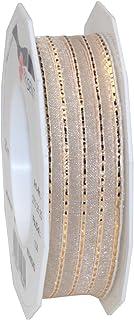 Morex Ribbon Richmond Wired Sheer Ribbon, 1 by 22-Inch Yard Spool, Champagne (27325/20-104)