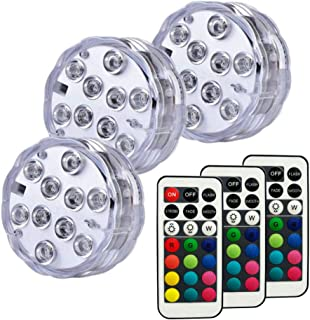 Anchayuan RGB Color Changing Submersible LED Lights 13 Colors 4 Lighting Modes Battery Powered Lights Remote Control (3-Pack)