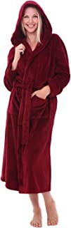Women's Plush Fleece Robe with Hood, Warm Bathrobe