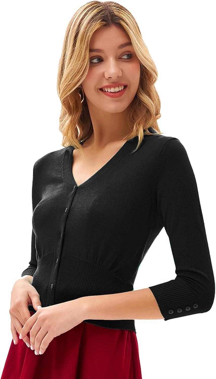 GRACE KARIN Women Cropped Cardigan V Neck 3/4 Sleeve Button Knit Shrug Sweater