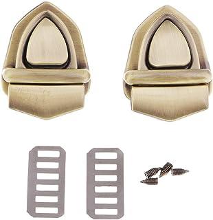 Hellery Hellery 2X Vintage Metallverschluss Catch Lock Tuck Verschluss Verschluss Für Lederhandtasche - Bronze-Dreieck