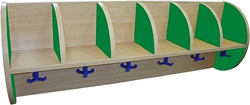 """punto de venta Mobeduc Mueble Perchero """"quesitos"""" 6 Casillas 1190 1190 1190 (Laterales Media Luna), Haya, Haya y verde Oscuro, 119x22x42 cm  los últimos modelos"""