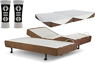 Zero Gravity G-Force Split King Adjustable Bed. State Of The Art Motorized Bed, with variable massage, Memory Foam Mattresses, Bamboo Pillows, 1800 Thread Count Sheets, Mattress firmness: Medium