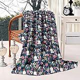 Unicorns Farting English Springer Spaniel Floral Dog Summer Thick Reversible Blanket Cozy Bed Warm Throw Blanket Flannel Fleece Blanket, 50 X 60 Inch