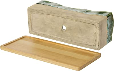 MyGift Decorative Beige and Green Ceramic Glazed Rectangular Succulent Planter with Removable Bamboo Tray