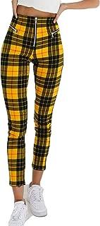 Women's High Waist Plaid Skinny Pants Slim Fit Pencil Pants Trousers Leggings