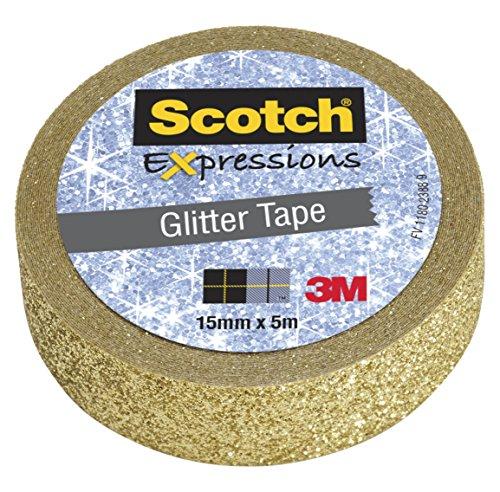 Scotch KK1505GG Kreativ-Klebeband (Glitzer, Dekoband, 15 mm x 5 m) gold