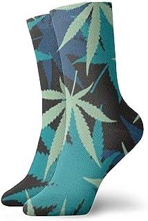 Dydan Tne, Weed Leaf Green Calcetines de Vestir Calcetines Divertidos Calcetines Locos Calcetines Casuales para niñas Niños
