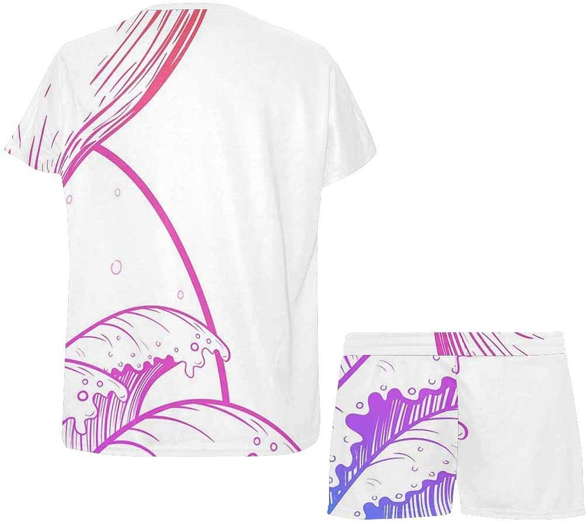 InterestPrint Whale Tail in Sea Waves, Boho Women's Lightweight Pajama Set, Short Summer Pjs
