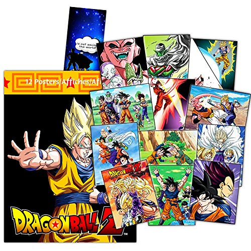 Dragon Ball Z Poster Book Super Set -- 12 Dragonball Posters Featuring Goku, Vegeta, Majin Buu and More with Additional Temporary Tattoos (Dragonball Room Decor)