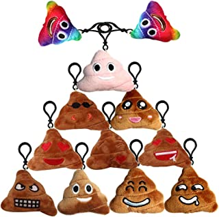 Poop Emoji Keychain Plush Toy Mini Kids' Pillow Set, Emoticon Key Chains Pendant Decoration Backpack Clip, Birthday Party Supplies Favor for Boy and Girl, Novelty Gift Student Prizes, 2.4 Inch 12 Pack