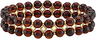 Peora Genuine Baltic Amber Tennis Stretch Bracelet for Women, Double Row 6mm Beads, Elastic Band, 7 inches, Sterling SIlver Accents