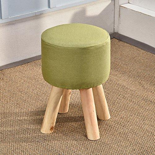 CS Haut pied chaise salon chaussures tabouret banc en tissu bois thé table tabouret (Color : Green)