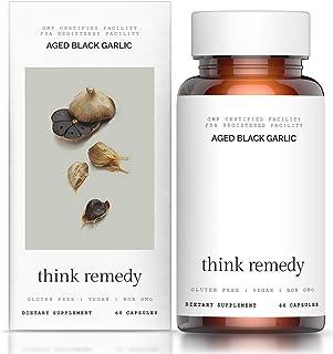 Aged Black Garlic Capsules - Garlic Pills for Cholesterol Support - Less Odor - Potent Antioxidant - 60 Cap...