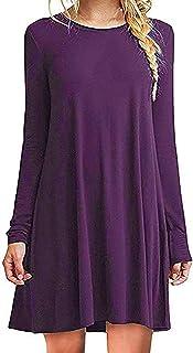 ZIOOER Women Loose Casual T-Shirt Tunic Dress
