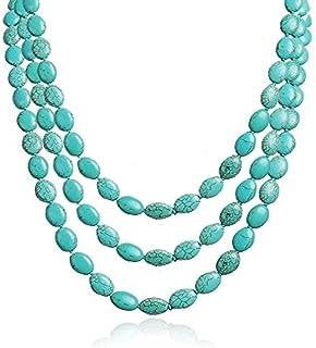 TreasureBay - Collana da donna a tre fili, con pietre di turchese