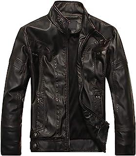 Motorcycle Men's PU leather Jacket Bike Top Outwear
