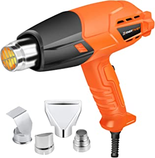 Enertwist 1500W Heat Gun Kit with 4 Nozzle Attachments, Dual Temperature Hot Air Gun Heating Protect for Shrink Wrapping, Paint Removal, Rusted Bolt Stripping, Wire Shrinking, Crafting, ET-HG-1500D
