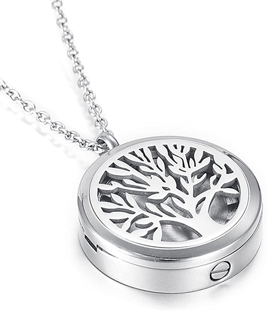 Classic Tree of Life Cremation Necklace for Ashes of Loved One Hold Photo Keepsake Memorial Urn Jewelry Pendant for Human/Pet