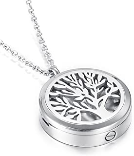 Memorial Urn Jewelry Hold Loved One's Photo & Ashes - Tree of Life Cremation Locket Necklace for Women/Men