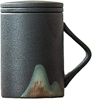 Mug Japanese Style,Pottery Teacup,with Infuser and Lid,9.2oz