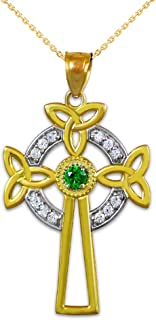 14K Two-Tone Gold Celtic Cross Trinity Knot Diamond Pendant Necklace with Emerald