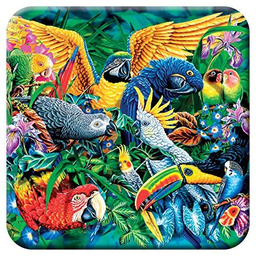 3D LiveLife Kork Matte - Tropen Vögel von Deluxebase. Linsenförmige-3D-Kork Vögel Untersetzer. rutschfeste Getränkematte mit Originalkunstwerk lizenziert vom bekannt Künstler Steven Michael Gardner